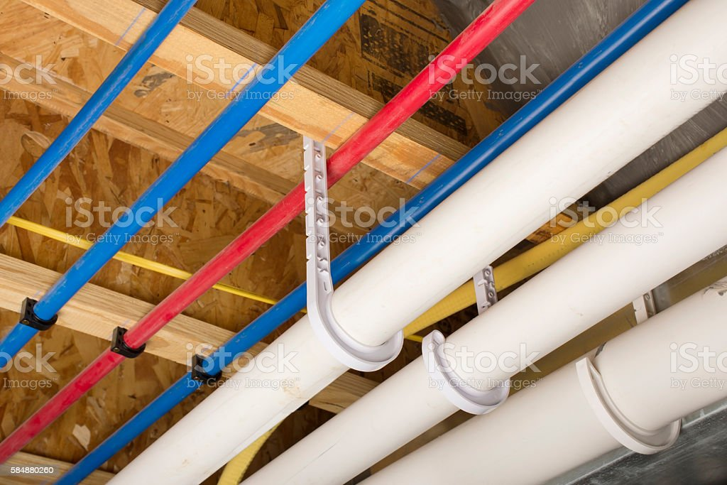 PEX and drain pipes stock photo