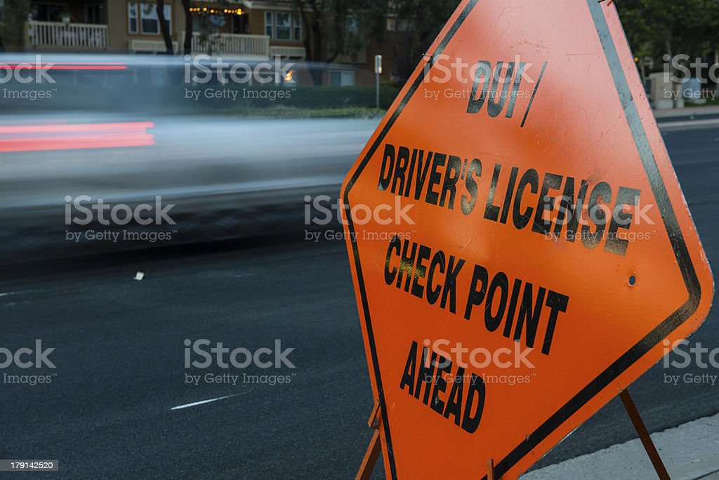 DUI and Driver License Checkpoint motion stock photo