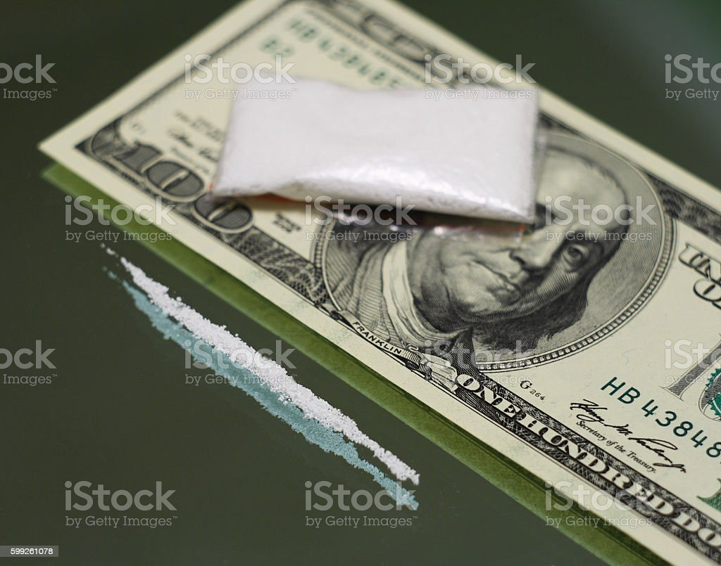and drugs on the mirror stock photo