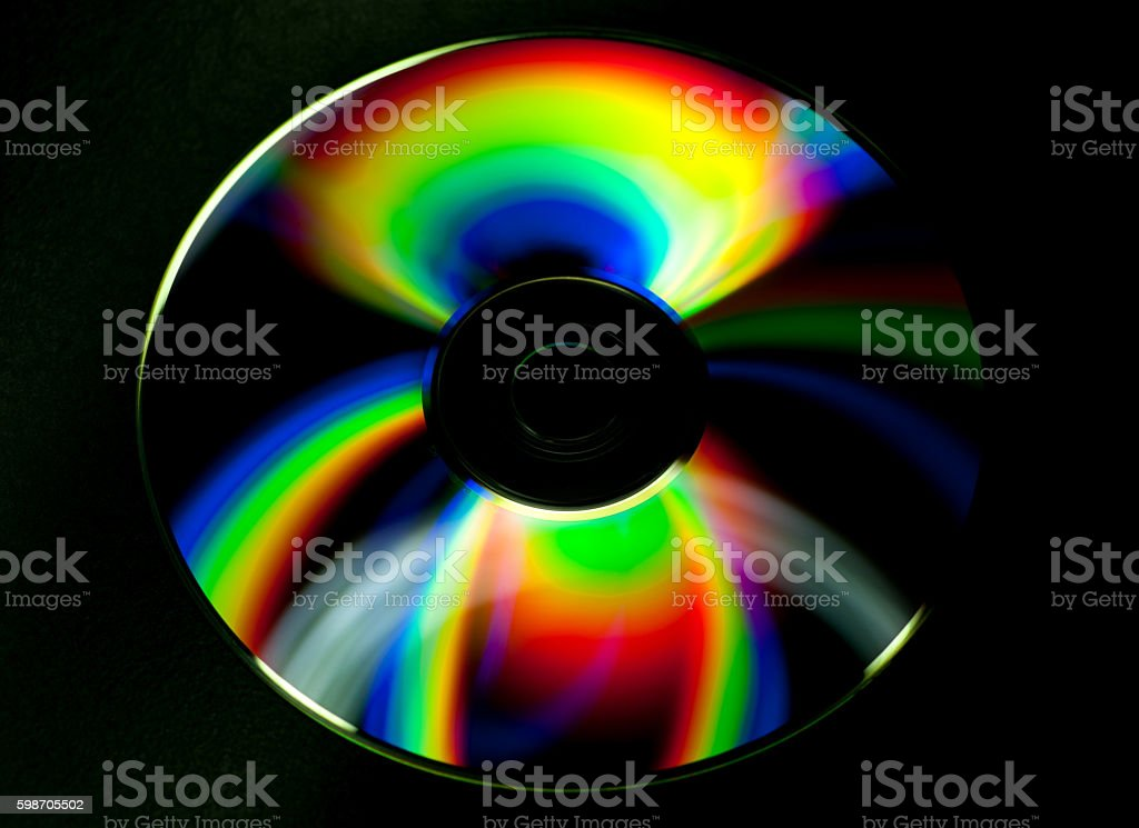 CD and DVD disk on black background stock photo