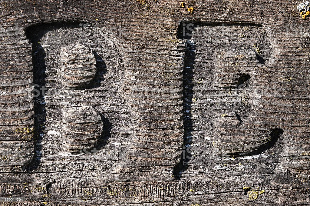 B and E Carved into Lichen Covered Board royalty-free stock photo