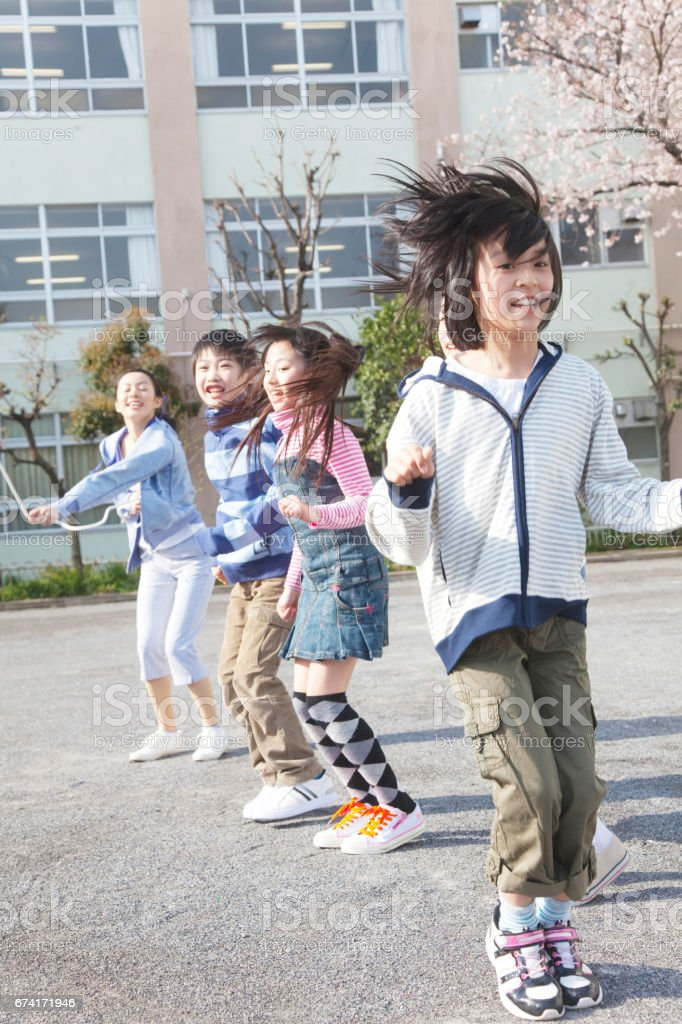 And elementary school students to great jump rope 4 teachers stock photo