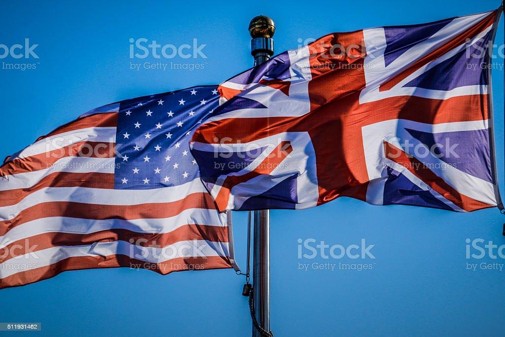 USA and ENGLAND FLAGS stock photo