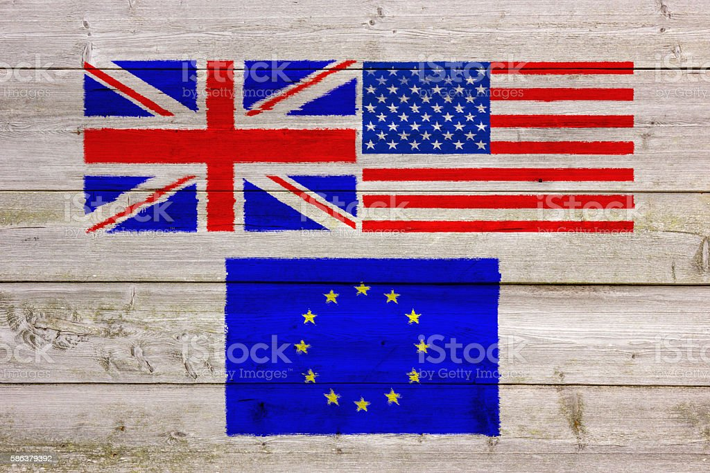 USA, UK and EU Flags Painted On Wooden Wall stock photo