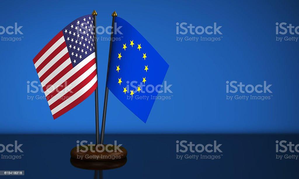 USA And European Union Desk Flags stock photo
