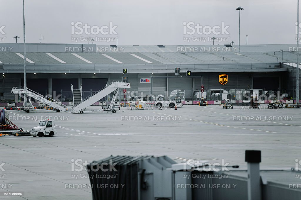 UPS and FedEx cargo terminal at London Stansted Airport stock photo