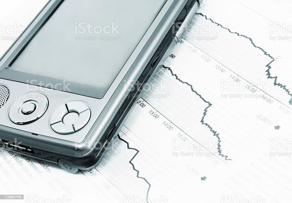 PDA and fianacial report stock photo
