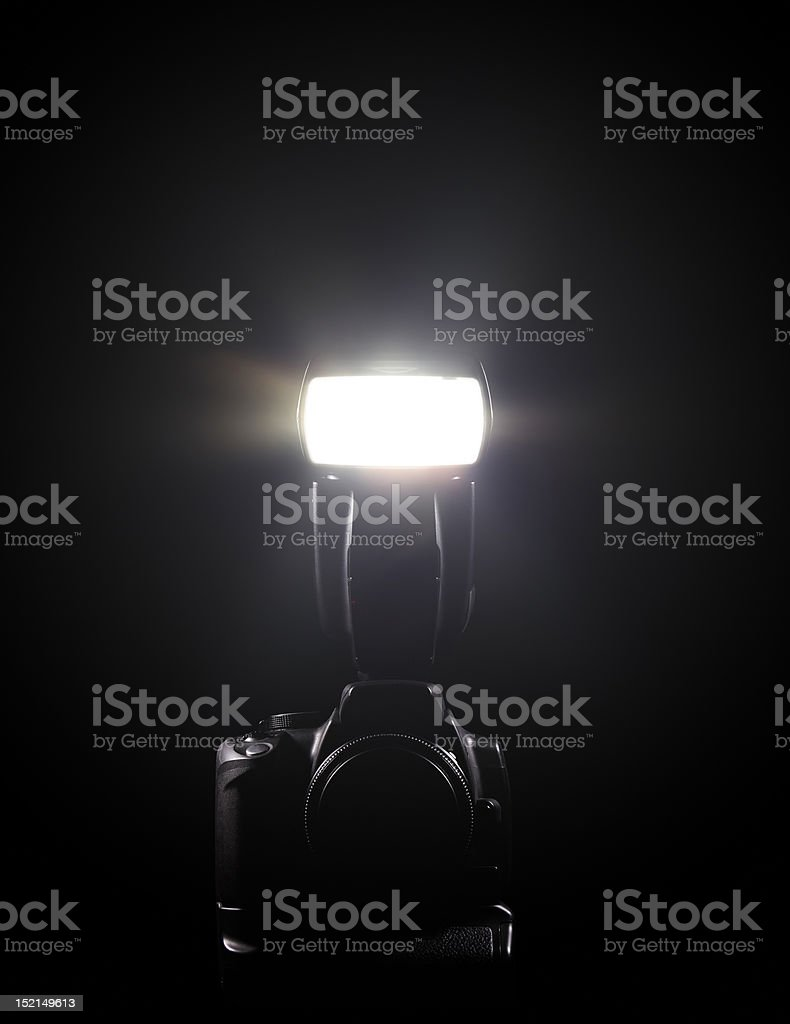 DSLR and flash stock photo