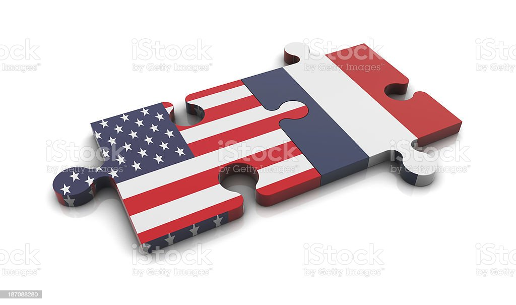 USA and France Flags on Puzzle royalty-free stock photo