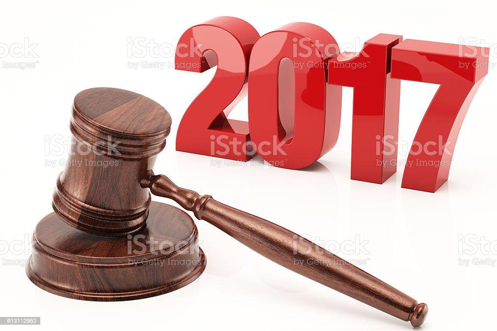 2017 and Gavel stock photo