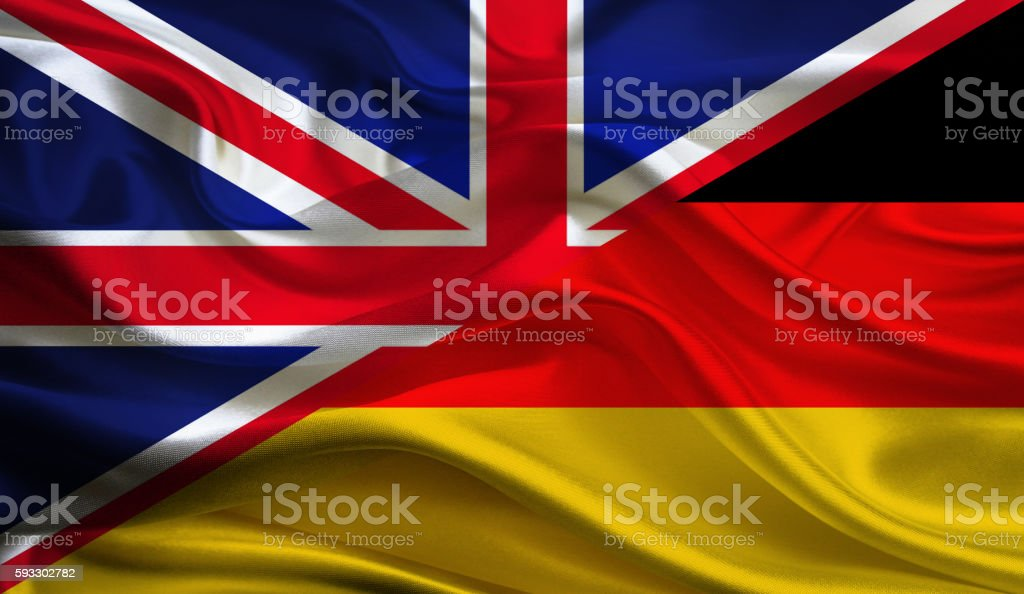 UK and German flag stock photo