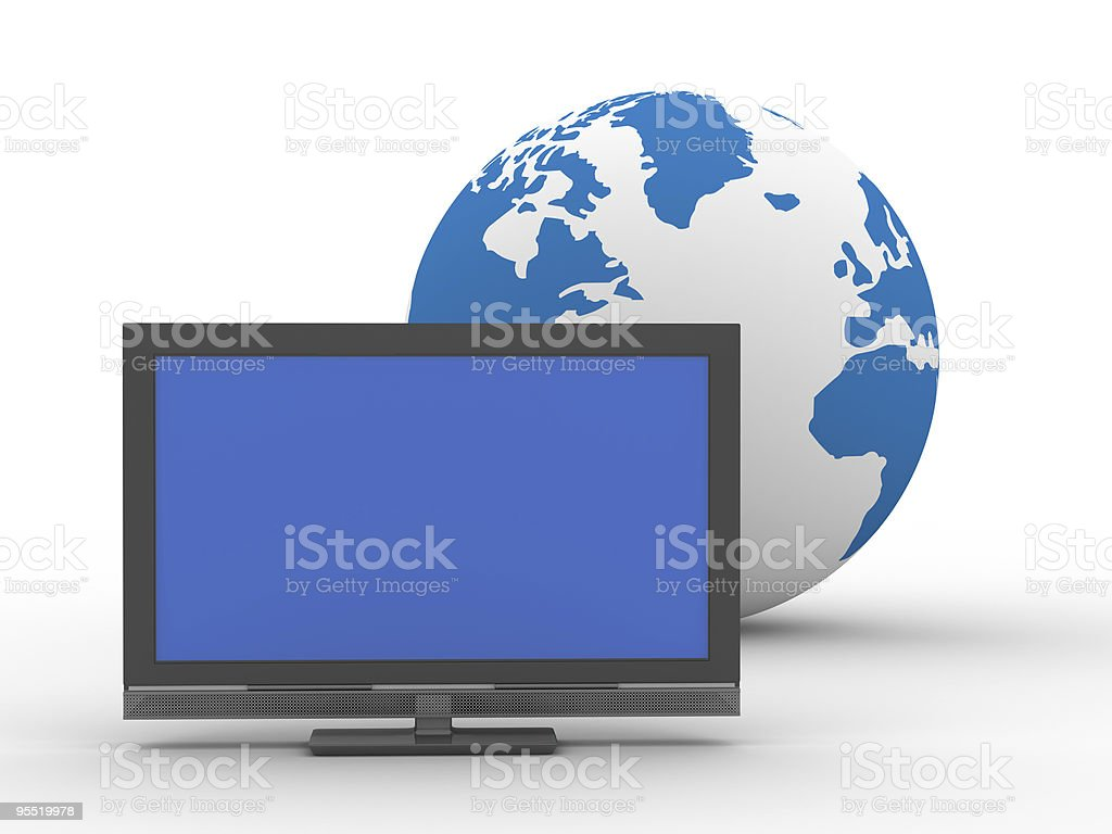 TV and globe on  white background. Isolated 3D image royalty-free stock photo