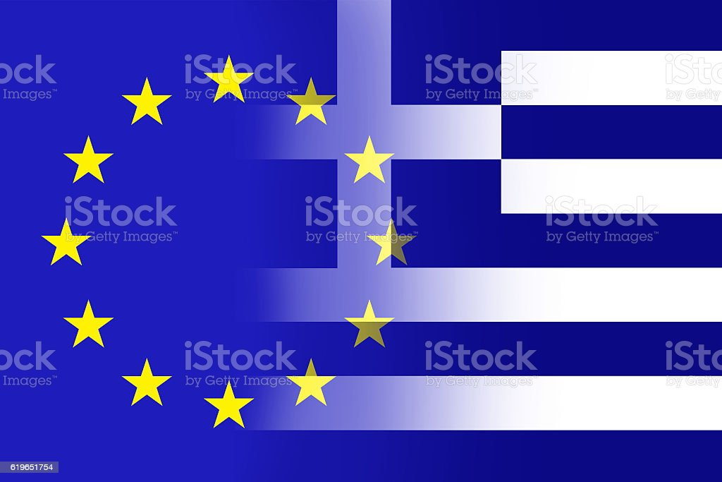EU and Greek flag stock photo