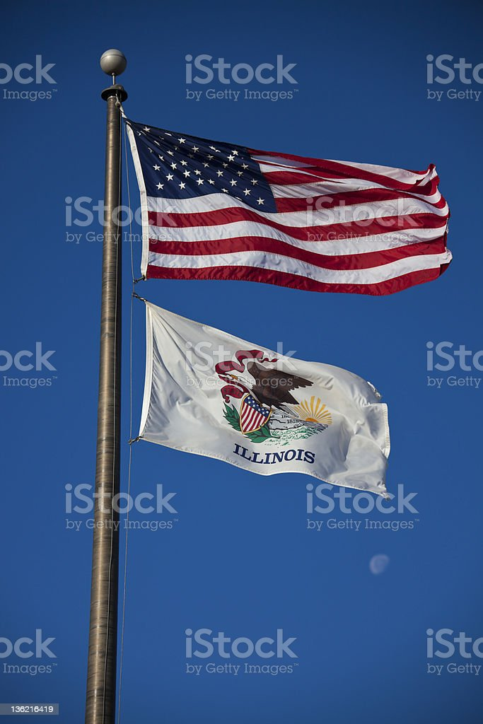 US and Illinois flags stock photo