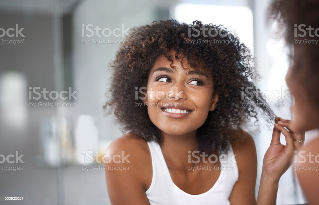 And I'm finally split-end free! stock photo