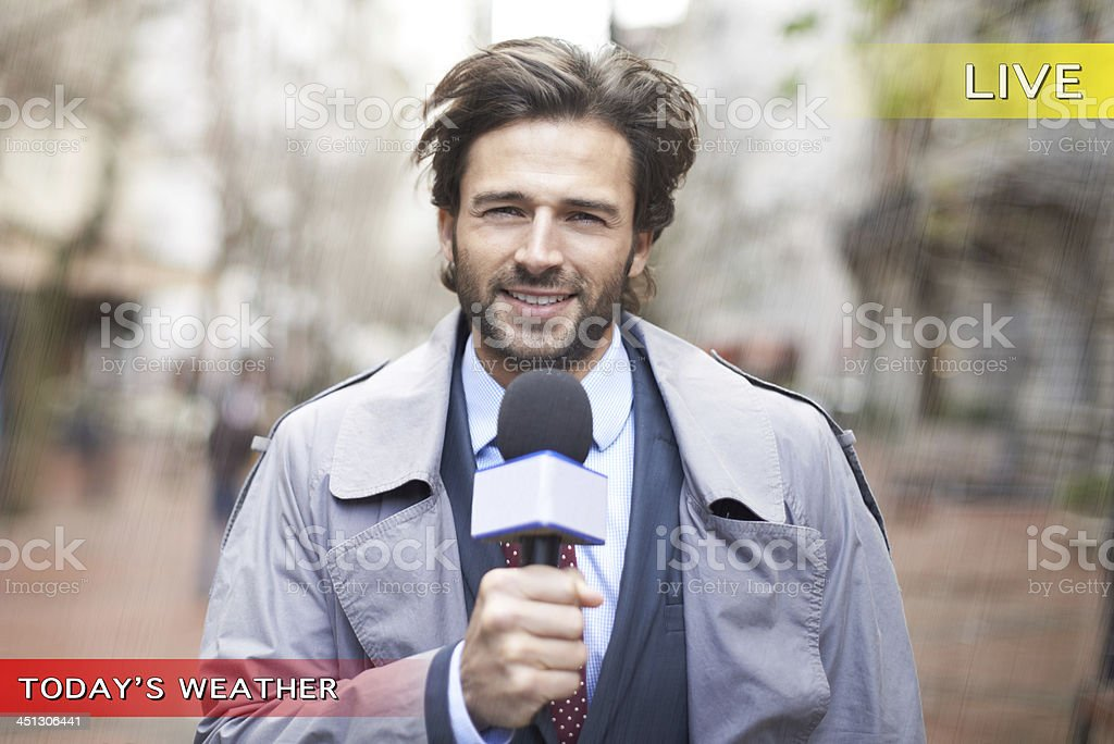 And in today's weather... stock photo