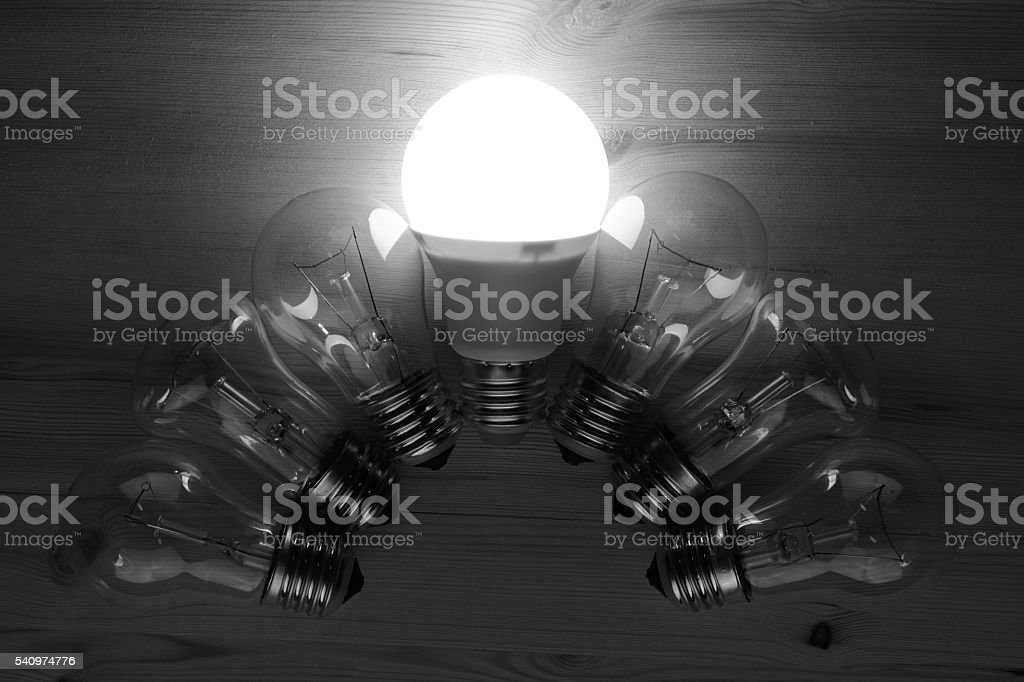 LED and incandescent lamps stock photo