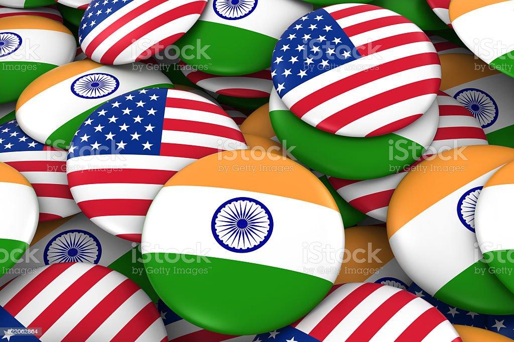USA and India Flag Badges Background stock photo