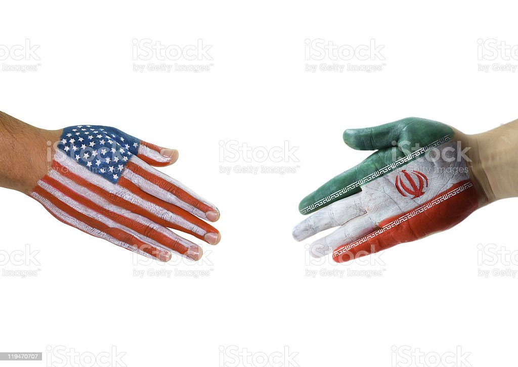 USA and Iran flag handshake stock photo