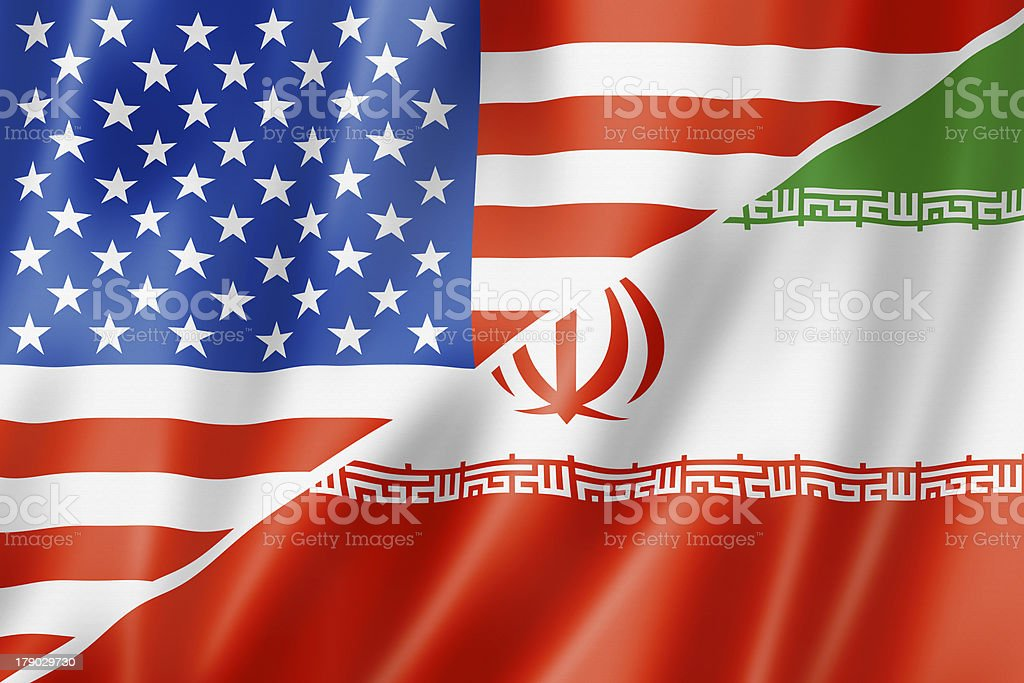 USA and Iran flag stock photo