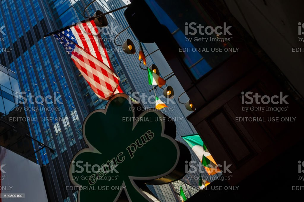 US and Irish flags on St. Patrick's Day stock photo