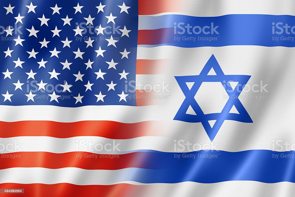 USA and Israel flag stock photo