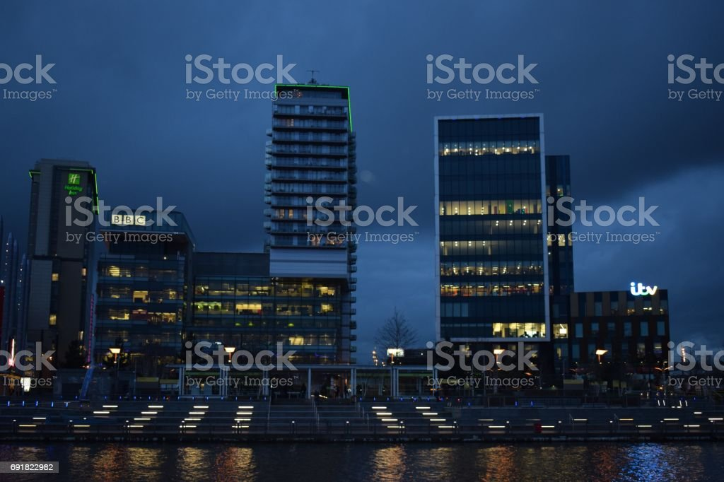 BBC and Itv headquarters in Media City Manchester stock photo
