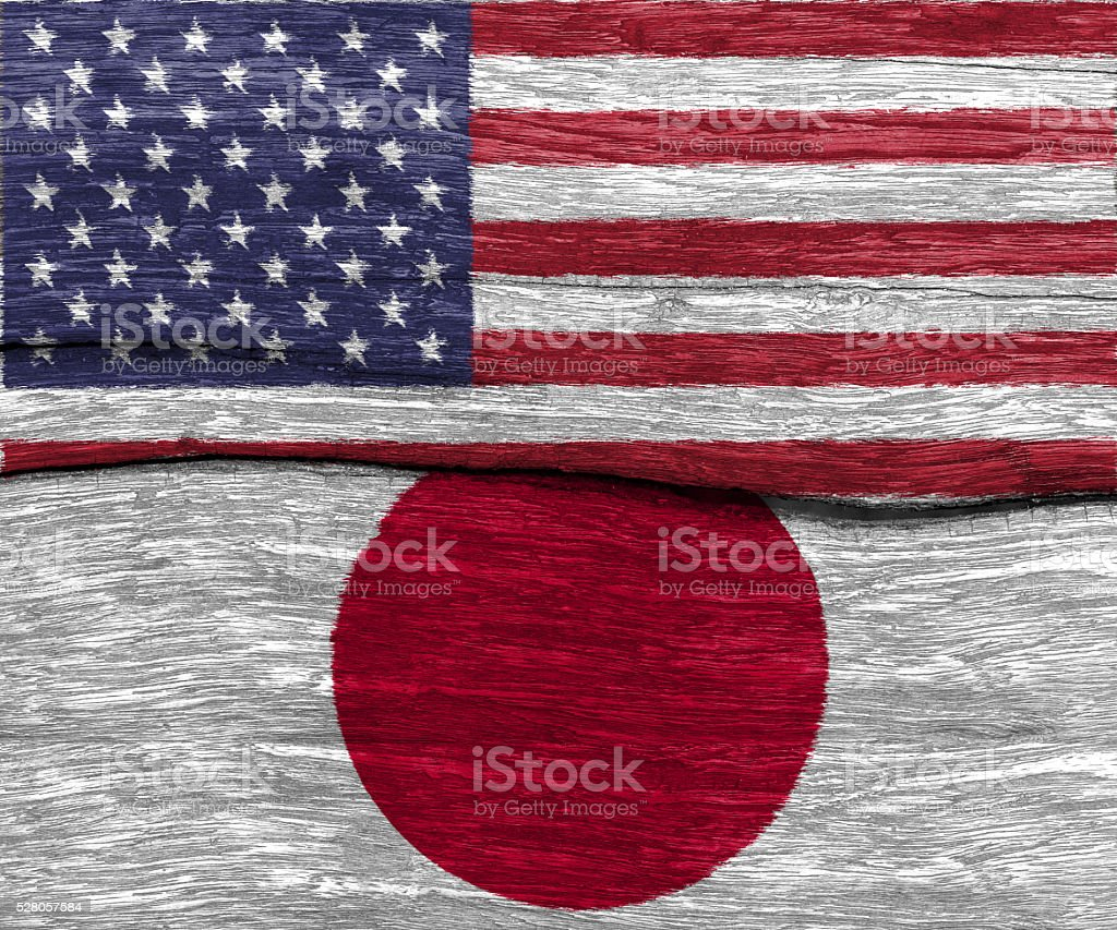 USA and japan flag on wood texture stock photo