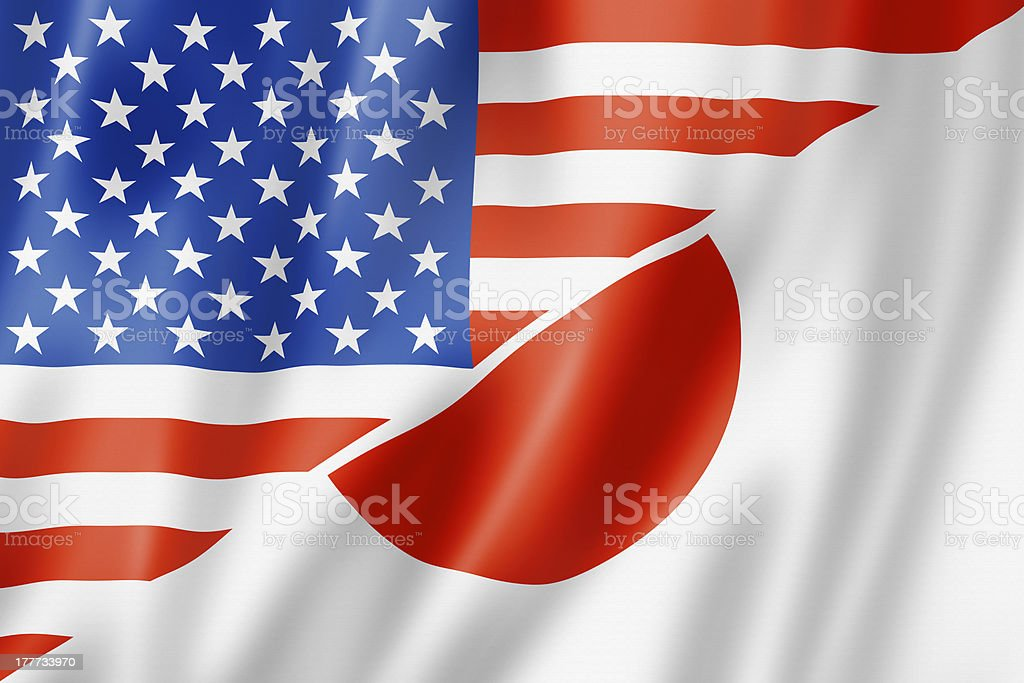 USA and Japan flag stock photo