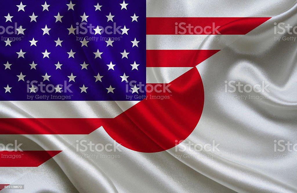 USA and Japanese flag stock photo