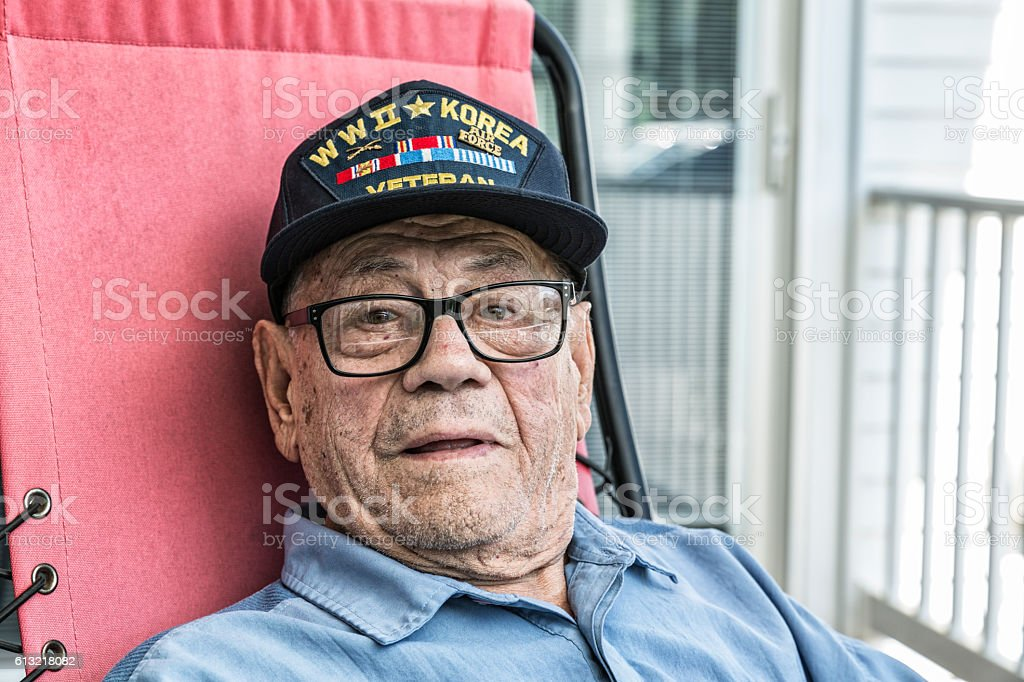 WWII And Korea Conflict USA Military Veteran Portrait stock photo