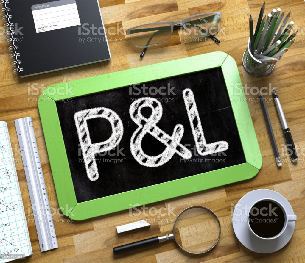 P and L - Text on Small Chalkboard. 3D stock photo