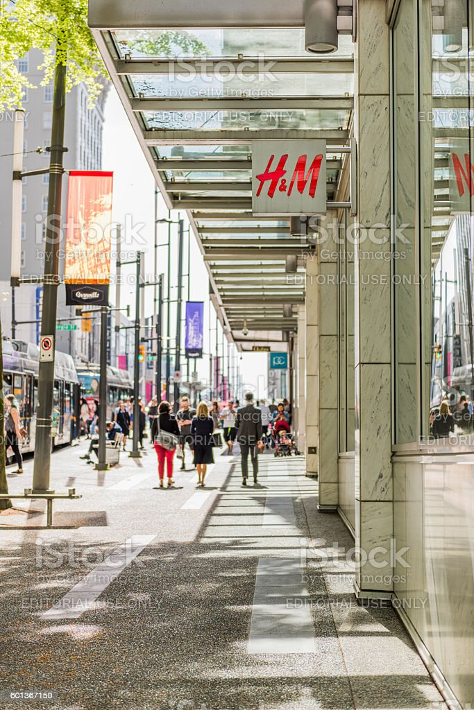 H and M sign and building on modern urban street stock photo