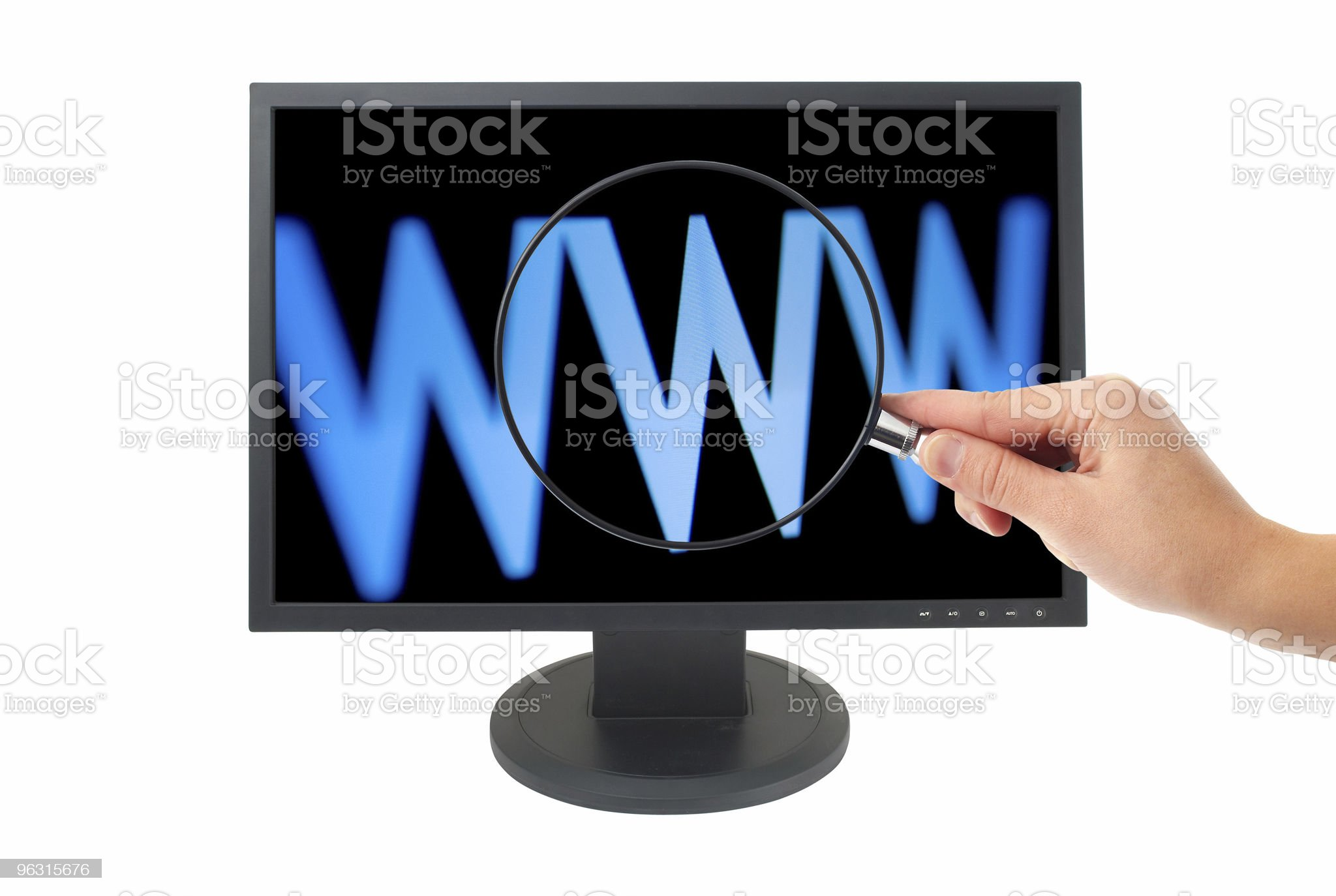LCD and Magnifying Glass royalty-free stock photo