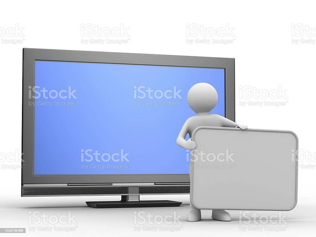TV and man on white background. Isolated 3D image royalty-free stock photo