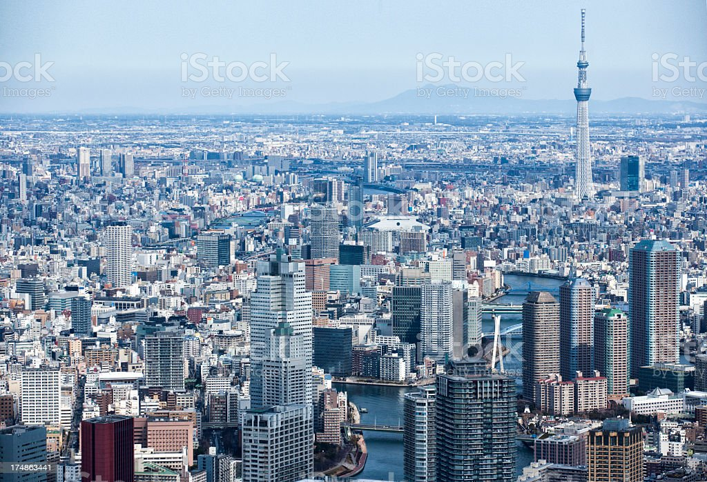 SKYTREE and many office buildings royalty-free stock photo