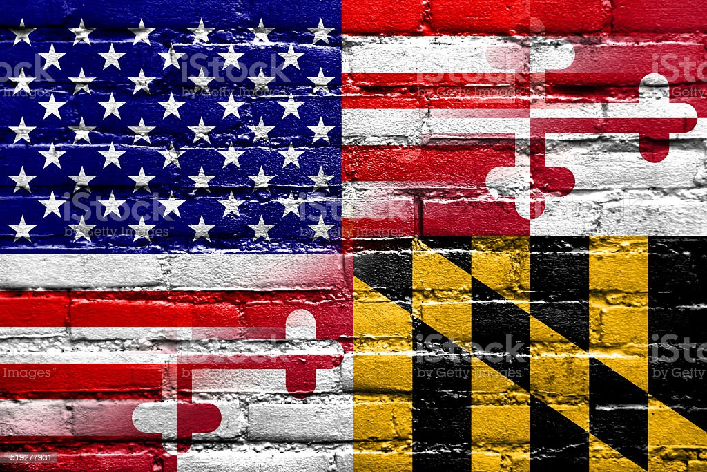 USA and Maryland State Flag painted on brick wall vector art illustration