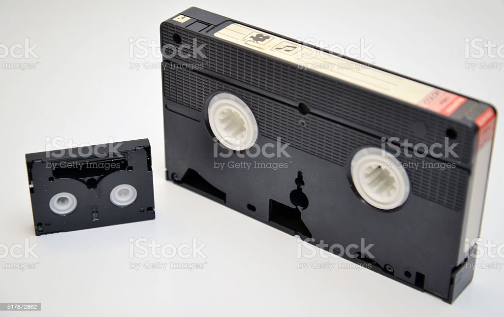 VHS and Min DV video tapes stock photo