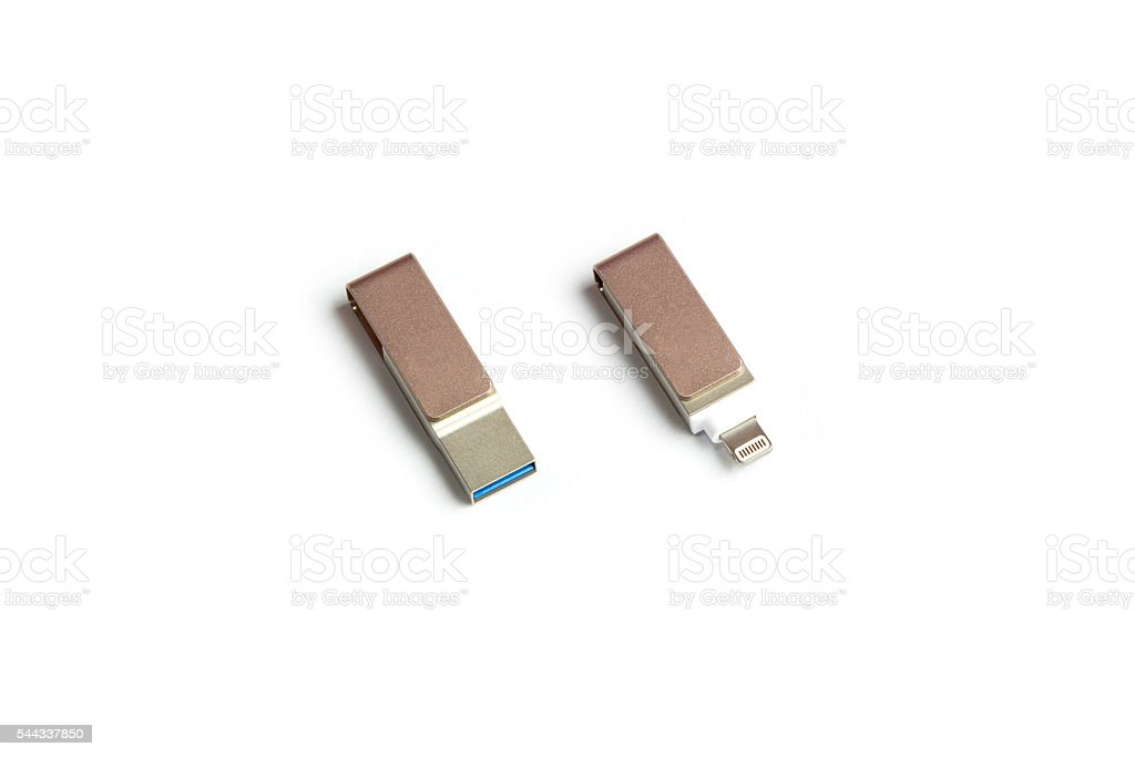 USB and mini connector for backup data. stock photo
