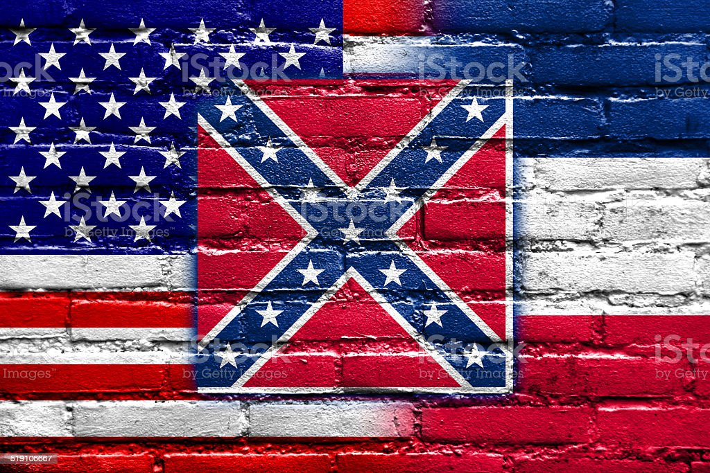 USA and Mississippi State Flag painted on brick wall vector art illustration