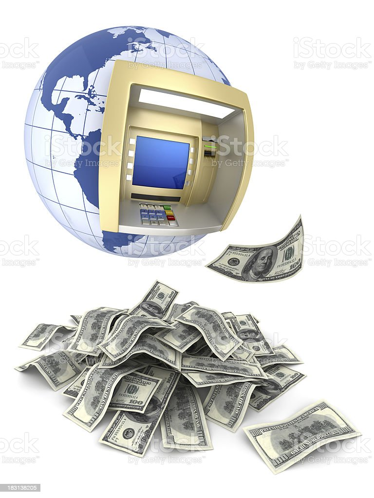 ATM and money royalty-free stock photo