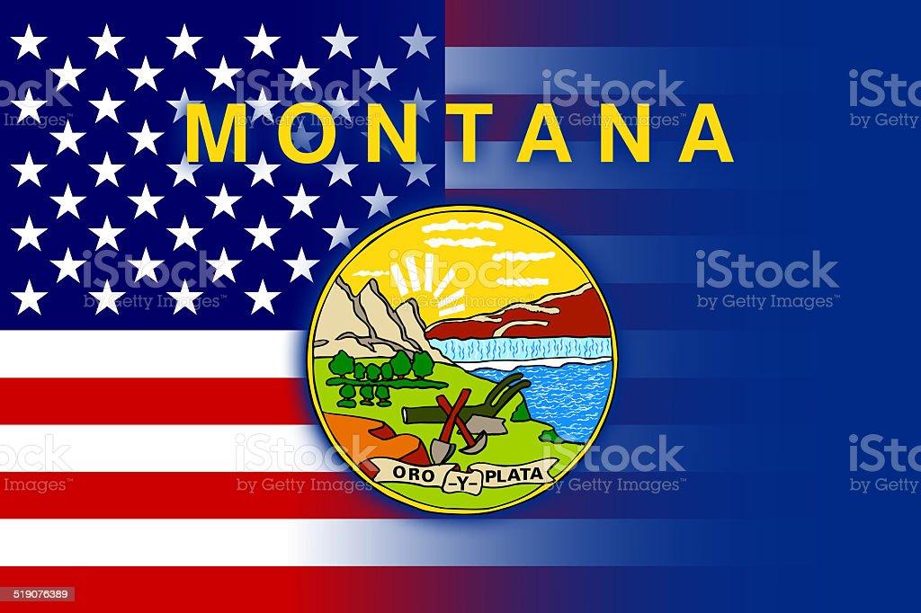 USA and Montana State Flag stock photo