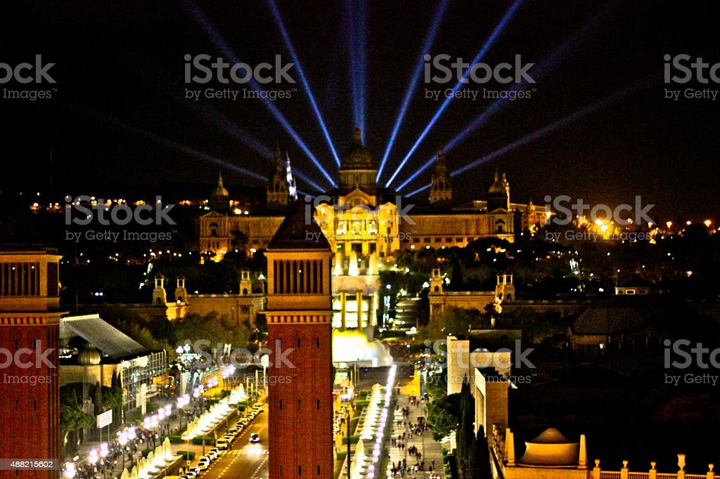 MNAC and Montjuic Barcelona at night stock photo
