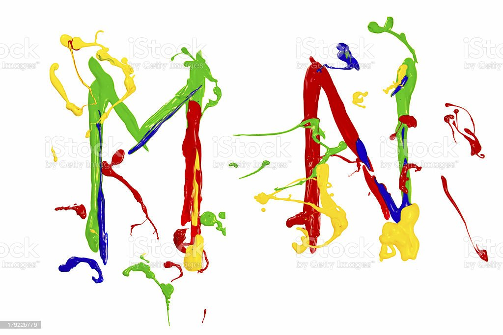 M and n painted colorful royalty-free stock photo