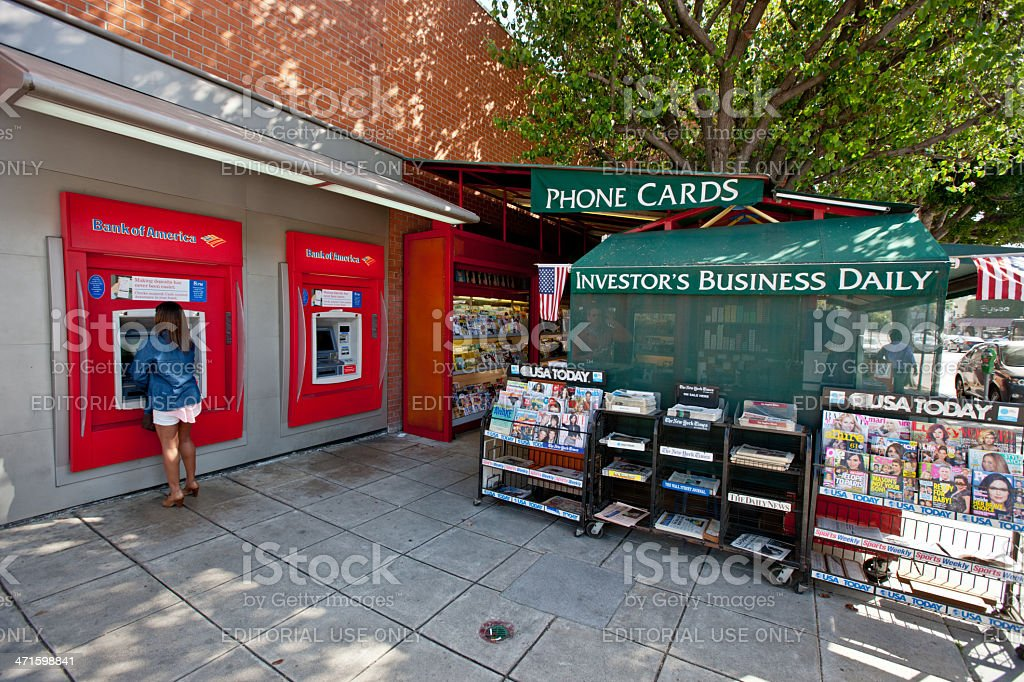 ATM and Newsstand in Westwood Village, Los Angeles royalty-free stock photo