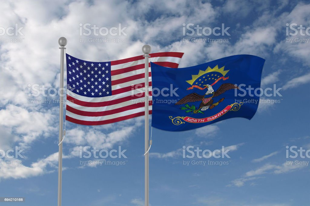 USA and North Dakota flag waving in the sky stock photo