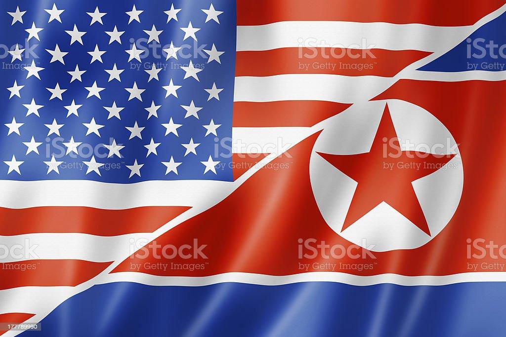 USA and North Korea flag stock photo
