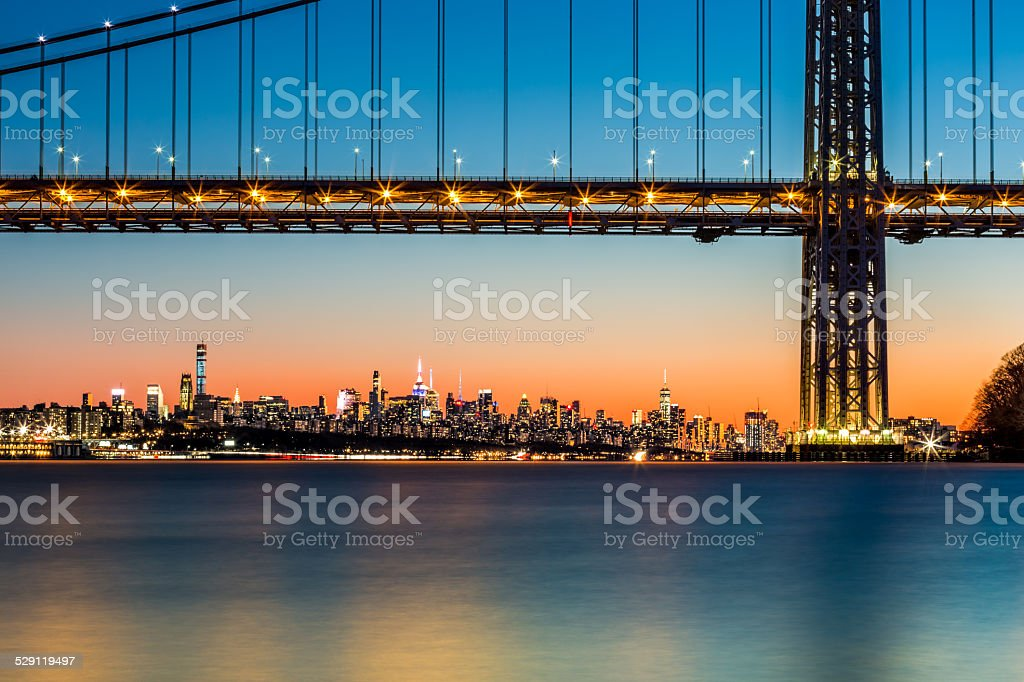 GWB and NYC skyline at sunset stock photo