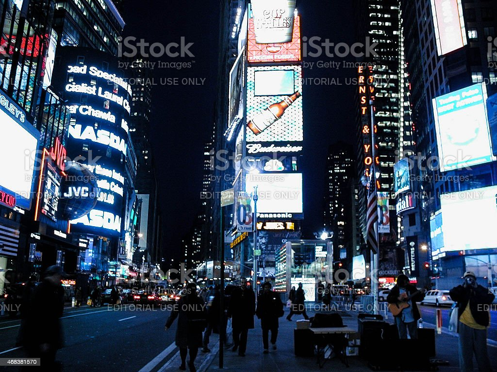 NASDAQ, JVC, and other billboards in Times Square stock photo