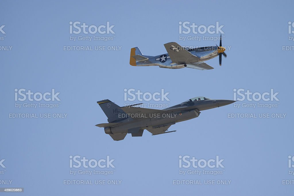 F-16 and P-51 Side View royalty-free stock photo